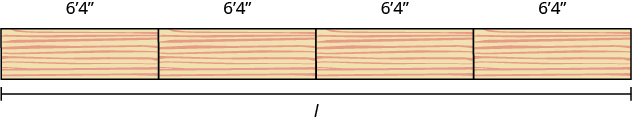 The image shows 4 planks of wood placed end-to-end horizontally. Each plank is labeled 6 feet 4 inches. A line starts at the left of the first plank and runs horizontally to the right of the fourth plank. The line is labeled with the letter l to represent length.