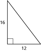 A right triangle is shown. The right angle is marked with a box. One of the sides touching the right angle is labeled as 16, the other as 12.