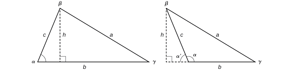 Two oblique triangles with standard labels. Both have a dotted altitude line h extended from angle beta to the horizontal base side b. In the first, which is an acute triangle, the altitude is within the triangle. In the second, which is an obtuse triangle, the altitude h is outside of the triangle.