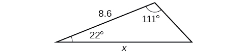 A triangle. One angle is 111 degrees with opposite side = x. Another angle is 22 degrees. The side adjacent to the 111 and 22 degree angles = 8.6.