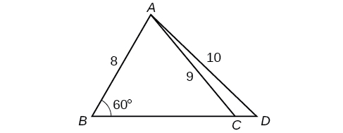 A triangle inside a triangle. The outer triangle is formed by vertices A, B, and D. Side B D is the base. The inner triangle shares vertices A and B. The last vertex C is located on the base side of the outer triangle between vertices B and D. Angle B is 60 degrees, side A D is 10, and side A C is 9.