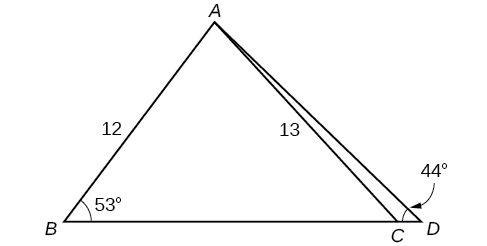 A triangle inside a triangle. The outer triangle is formed by vertices A, B, and D. Side B D is the base. The inner triangle shares vertices A and B. The last vertex C is located on the base side of the outer triangle between vertices B and D. Angle B is 53 degrees, angle D is 44 degrees, side A B is 12, and side A C is 13.
