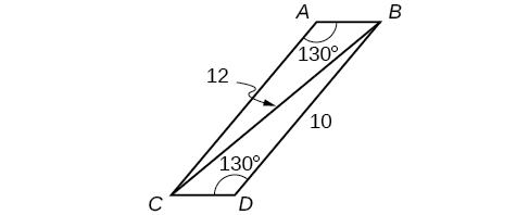 A parallelogram with vertices A, B, C, and D. There is a diagonal from vertex B to vertex C. Angle A is 130 degrees, angle D is 130 degrees, side B D is 10, and the diagonal B C is 12.
