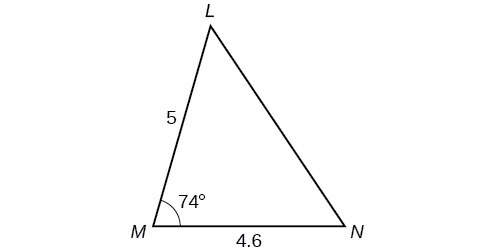 A triangle with vertices M, N, and L. Side M N is the horizontal base and is 4.6. Angle M is 74 degrees, and side M L is 5.