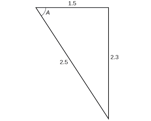 A triangle. Angle A is opposite a side of length 2.3. The other two sides are 1.5 and 2.5.