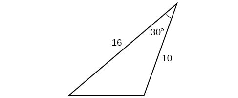 A triangle. One angle is 30 degrees with opposite side unknown. The other two sides are 16 and 10.