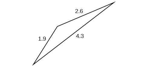 A triangle with sides 1.9, 2.6, and 4.3. Angles unknown.