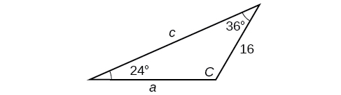 Triangle with standard labels. Angle A is 36 degrees with opposite side a unknown. Angle B is 24 degrees with opposite side b = 16. Angle C and side c are unknown.