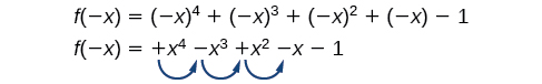 The function, f(-x)=(-x)^4+(-x)^3+(-x)^2+(-x)-1=+ x^4-x^3+x^2-x-1, has three sign changes between x^4 and x^3, x^3 and x^2, and x^2 and x.`