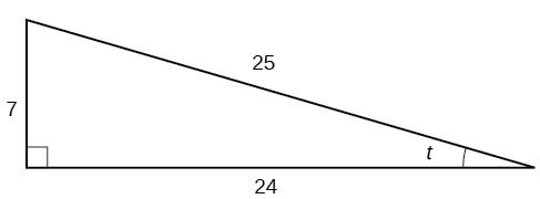 A right triangle with sides of 7, 24, and 25. Also labeled is angle t which is opposite the side labeled 7.