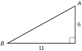 A right triangle with side lengths of 11 and 6. Corners A and B are also labeled.  The angle A is opposite the side labeled 11.  The angle B is opposite the side labeled 6.