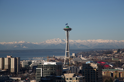 A skyline view of Seattle with a focus on the Space Needle.