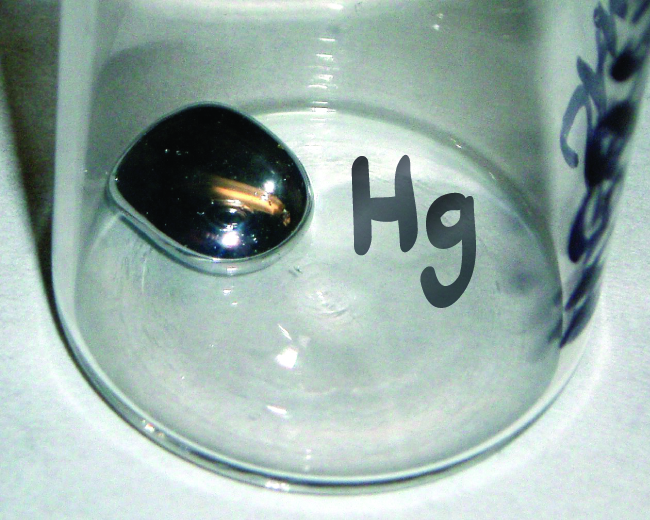 "A jar labeled ""H g"" is shown with a small amount of liquid mercury in it."