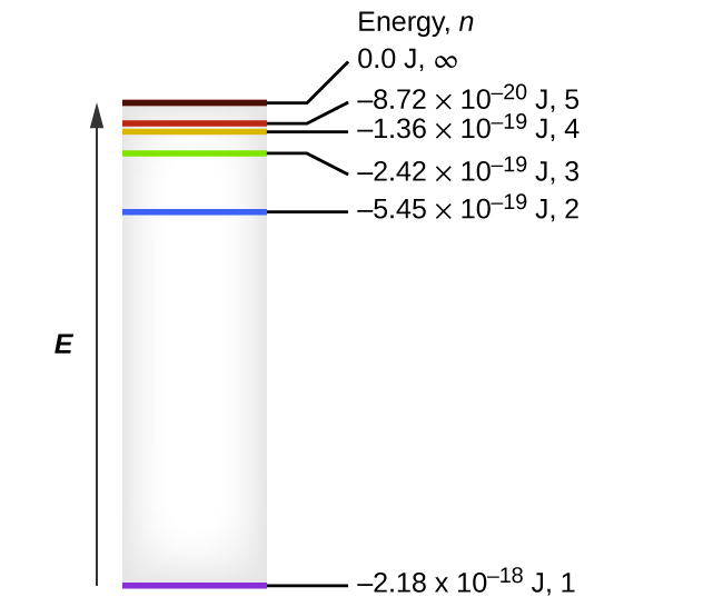 "The figure includes a diagram representing the relative energy levels of the quantum numbers of the hydrogen atom. An upward pointing arrow at the left of the diagram is labeled, ""E."" A grey shaded vertically-oriented rectangle is placed just right of the arrow. The rectangle height matches the arrow length. Colored horizontal line segments are placed inside the rectangle and labels are placed to the right of the box and arranged in a column with the heading, ""Energy, n."" At the very base of the rectangle, a purple horizontal line segment is drawn. A black line segment extends to the right to the label, ""negative 2.18 times 10 superscript negative 18 J, 1."" At a level approximately three-quarters of the distance to the top of the rectangle, a blue horizontal line segment is drawn. A black line segment extends to the right to the label, ""negative 5.45 times 10 superscript negative 19 J, 2."" At a level approximately seven-eighths the distance from the base of the rectangle, a green horizontal line segment is drawn. A black line segment extends to the right to the label, ""negative 2.42 times 10 superscript negative 19 J, 3."" Just a short distance above this segment, an orange horizontal line segment is drawn. A black line segment extends to the right to the label, ""negative 1.36 times 10 superscript negative 19 J, 4."" Just above this segment, a red horizontal line segment is drawn. A black line segment extends to the right to the label, ""negative 8.72 times 10 superscript negative 20 J, 5."" Just a short distance above this segment, a brown horizontal line segment is drawn. A black line segment extends to the right to the label, ""0.00 J, infinity."""