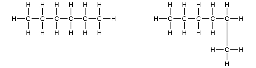 Two structural formulas are shown. In the first, a horizontal hydrocarbon chain consisting of six singly bonded C atoms is shown. Each C atom has an H atom bonded above and below it. The two C atoms on either end of the chain each have a third H atom bonded to them. In the second structure, a horizontal hydrocarbon chain composed of five C atoms connected by single bonds is shown with a sixth C atom singly bonded beneath the right-most C atom. The first C atom (from left to right) has three H atoms bonded to it. The second C atom has two H atoms bonded to it. The third C atom has two H atoms bonded to it. The fourth C atom has two H atoms bonded to it. The fifth C atom has two H atoms bonded to it. The C atom bonded below the fifth C atom has three H atoms bonded to it.