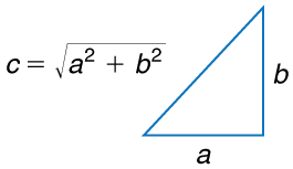A right-angled triangle with base labeled a height labeled b and hypotenuse labeled c is shown. Using Pythagorean theorem c is calculated as square root of a squared plus b squared.