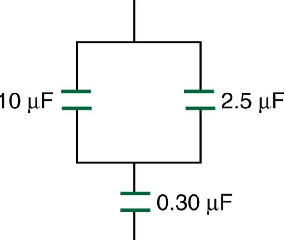 A circuit is shown with three capacitors. Two capacitors, of ten microfarad and two point five microfarad capacitance, are in parallel to each other, and their combination is in series with a zero point three zero microfarad capacitor.
