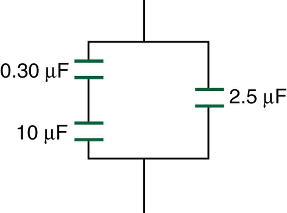 The circuit includes three capacitors. A zero point three zero microfarad capacitor and a ten microfarad capacitor are connected in series, and together they are connected in parallel with a two point five microfarad capacitor.