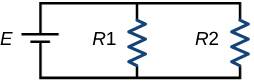 A circuit with nothing on the top or bottom, but a battery marked E on the left, a resistor marked R1 in the middle, and a resistor marked R2 on the right.