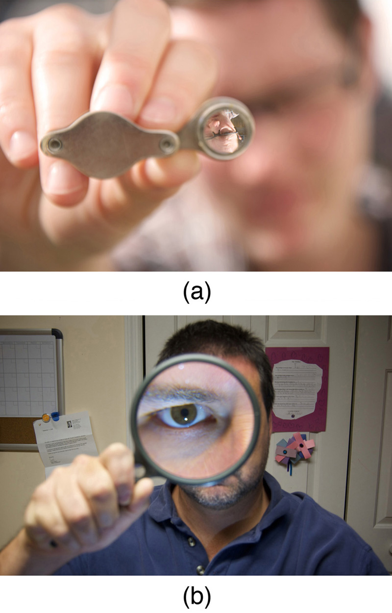Figure a shows a lens forming an inverted image of a person's face when it is held far away from his face. Figure b shows a magnified image of the person's eye when viewed through a magnifying glass when the lens is placed close to the eye of the person.