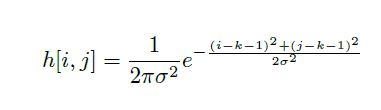 equation for Gaussian kernel