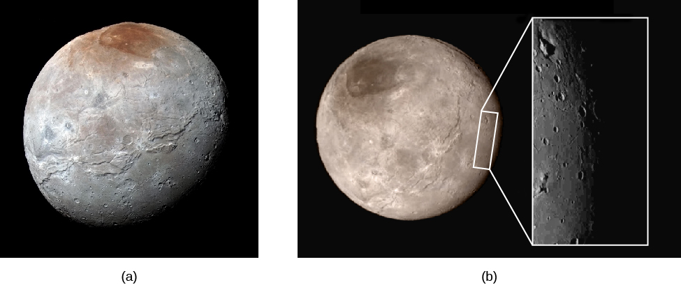 Image A is of Charon, showing the polar cap at the top. Image B is of Charon from a different angle, with an inset highlighting a depression in the surface which appears to contain a mountain.