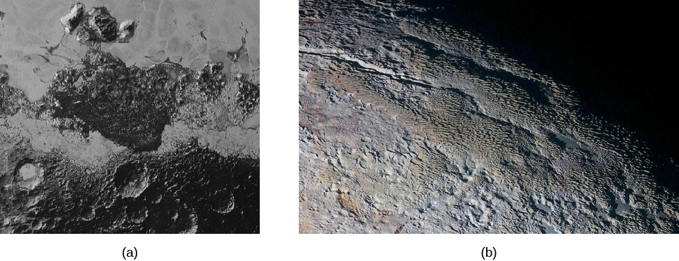 Image A shows the surface of Pluto, with cratered highlands at the bottom and hills at the top. Image B shows another area of the surface on Pluto, with rounded mountains.