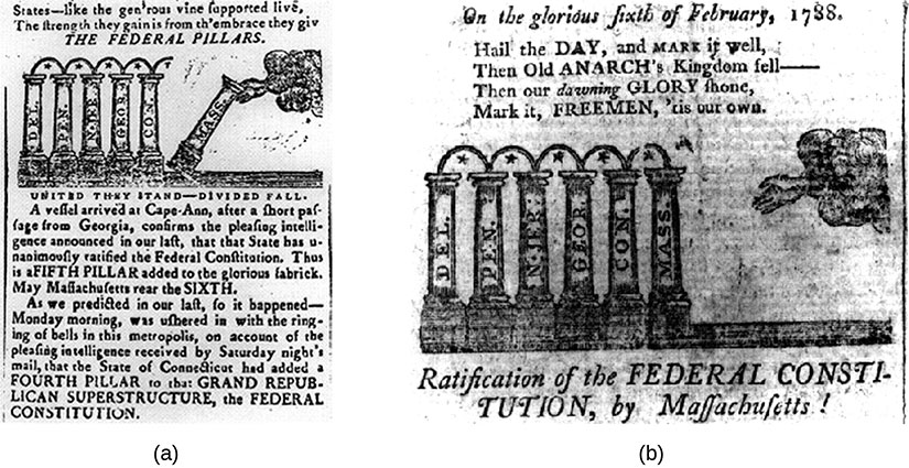 Image a shows a newspaper illustration showing five pillars standing upright representing Delaware, Pennsylvania, New Jersey, Georgia and Connecticut. A sixth pillar representing Massachusetts is broken apart from the others and falling over). Image b shows a similar newspaper illustration showing the six pillars all standing upright.