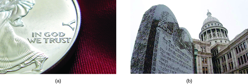 "Photo A is of a close up of an U.S. coin. The words ""In God we trust"" can be seen on the coin. Photo B is of a sculpture that lists the Ten Commandments. There is a building with a dome in the background."