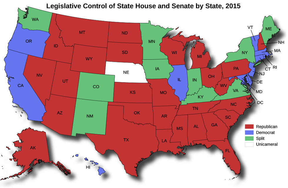 "A map of the United States titled ""Legislative Control of State House and Senate by State, 2015"". Nevada, Idaho, Montana, Wyoming, Utah, Arizona, Alaska, North Dakota, South Dakota, Kansas, Oklahoma, Texas, Missouri, Arkansas, Louisiana, Tennessee, Mississippi, Alabama, Florida, Georgia, South Carolina, North Carolina, Wisconsin, Michigan, Ohio, West Virginia, Pennsylvania, and New Hampshire are marked Republican. Oregon, California, Hawaii, Illinois, DC, Maryland, Delaware, New Jersey, Connecticut, Rhode Island, Massachusetts, and Vermont are marked Democrat. Washington, Colorado, New Mexico, Minnesota, Iowa, Indiana, Kentucky, Virginia, New York, and Maine are marked Split. Nebraska is marked Unicameral."