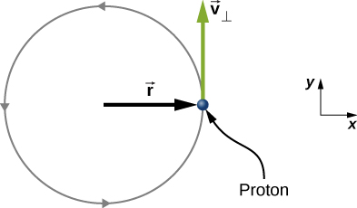 A proton moves in a counterclockwise circle. The circle has radius r. The proton is shown when it is to the right of the center of the circle, and its velocity is v sub perpendicular in the upward, positive y, direction.