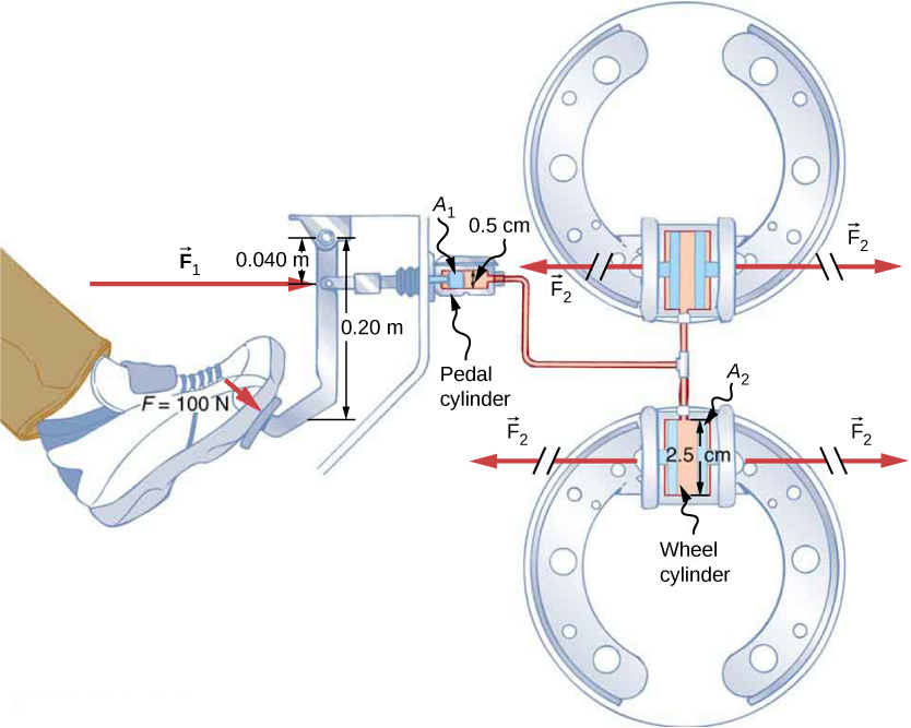 Figure is a schematic drawing of a hydraulic brake system. A foot is applied to the brake pedal with the force F1. It is transmitted to the pedal cylinder with the area A1 of 0.5 cm. The Pedal cylinder is connected to the hydraulic system with two wheel cylinders with an area A2 of 2.5 cm. Wheel cylinders create output force F2.