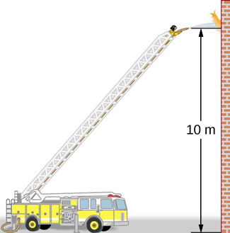 Figure is a drawing of the fire truck with the extended ladder. Fireman on the top of the ladder uses hose to extinguish the fire. The flow of water from the hose is parallel to the ground and is 10 meters above it.