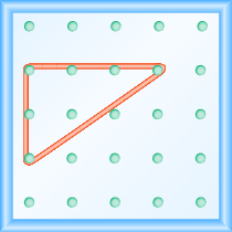 The figure shows a grid of evenly spaced pegs. There are 5 columns and 5 rows of pegs. A rubber band is stretched between the peg in column 1, row 2, the peg in column 1, row 4, and the peg in column 4, row 2, forming a right triangle. The 1, 2 peg is the vertex of the 90 degree angle, while the line between the 1, 4 and 4, 2 pegs forms the hypotenuse of the triangle.