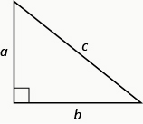 A right triangle with sides marked a, b, and c. The side marked c is the hypotenuse.